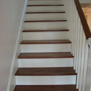 Hardwood Treads With Painted Risers